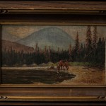 "Small Framed Scene with Horse by M E Bailey - H8"" x W12"" (documentation available)"